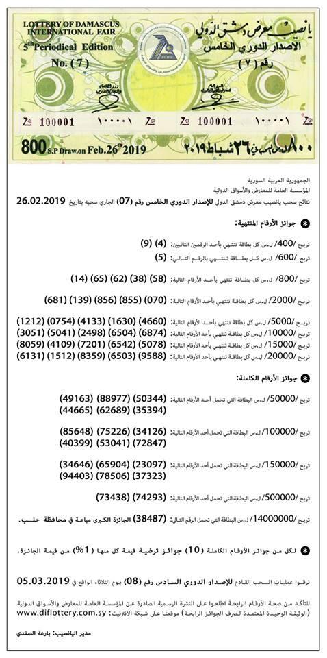 برقم البطاقة جميع ارقام البطاقات الرابحة في نتائج يانصيب معرض دمشق الدولي 2019
